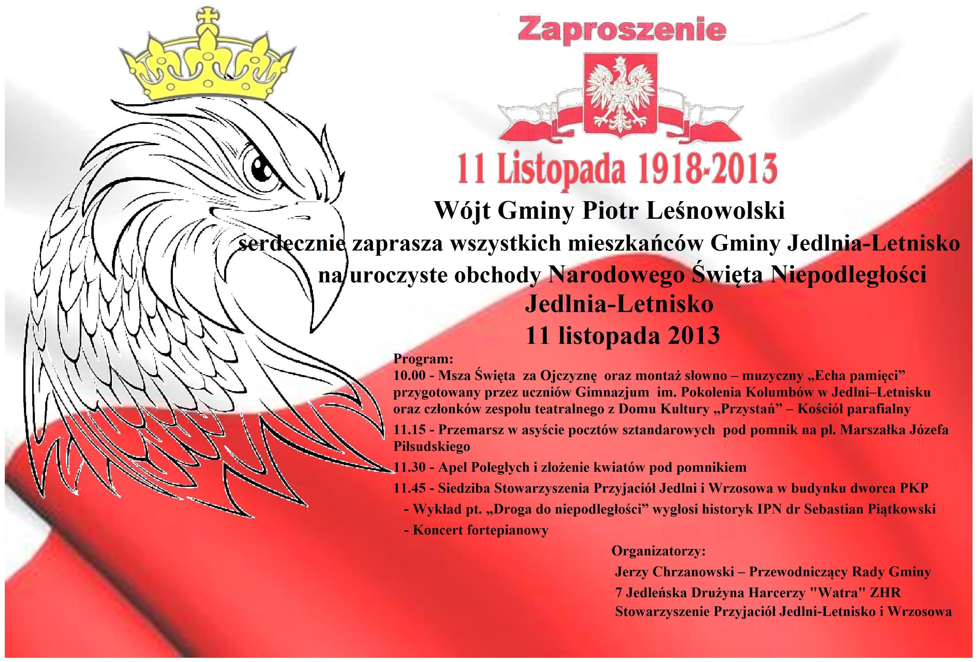 Zaproszenie Na Obchody święta Niepodległości Zapowiedzi